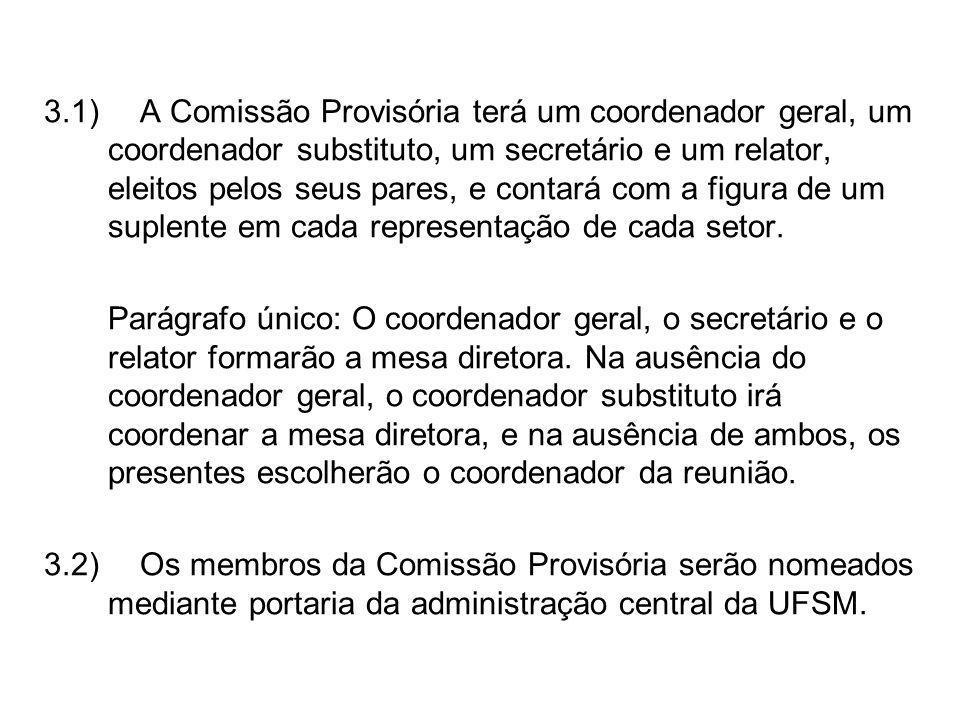 3.1)A Comissão Provisória terá um coordenador geral, um coordenador substituto, um secretário e um relator, eleitos pelos seus pares, e contará com a figura de um suplente em cada representação de cada setor.