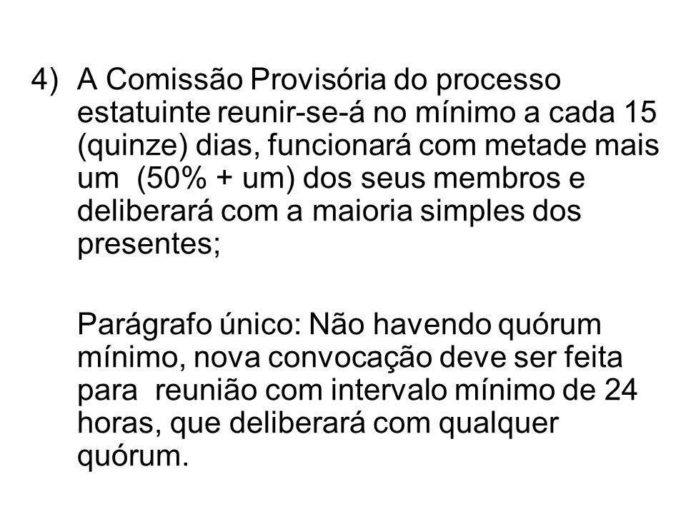 4) A Comissão Provisória do processo estatuinte reunir-se-á no mínimo a cada 15 (quinze) dias, funcionará com metade mais um (50% + um) dos seus membr