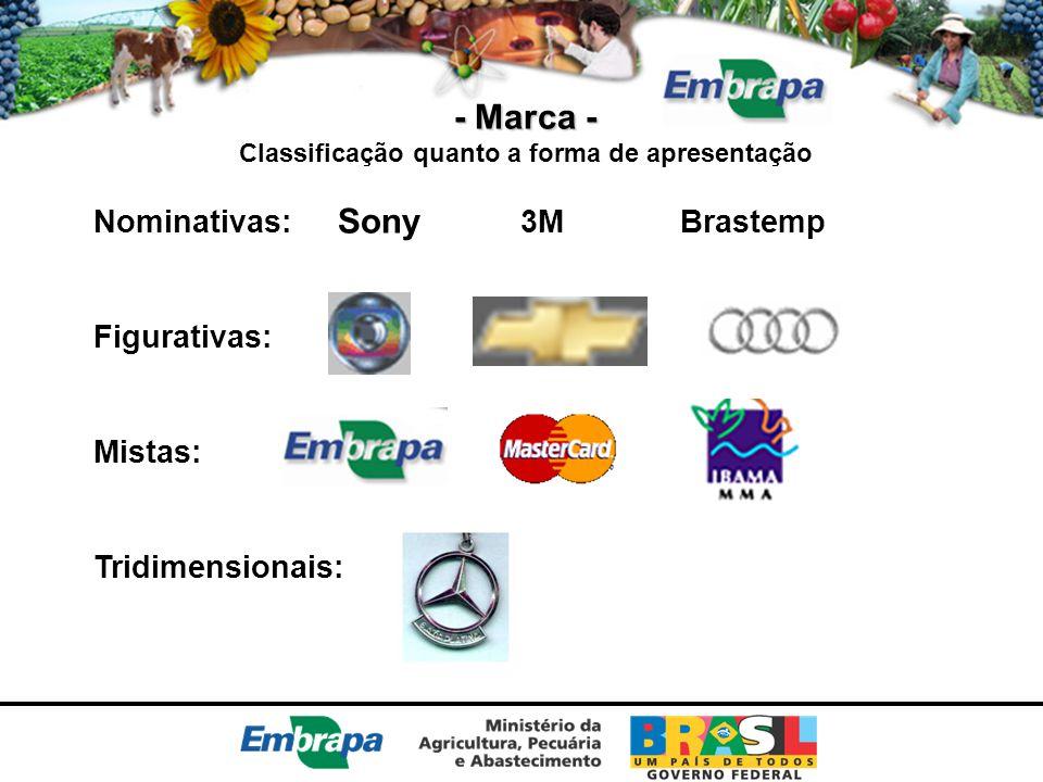 - Marca - Classificação quanto a forma de apresentação Nominativas: Sony 3M Brastemp Figurativas: Mistas: Tridimensionais: