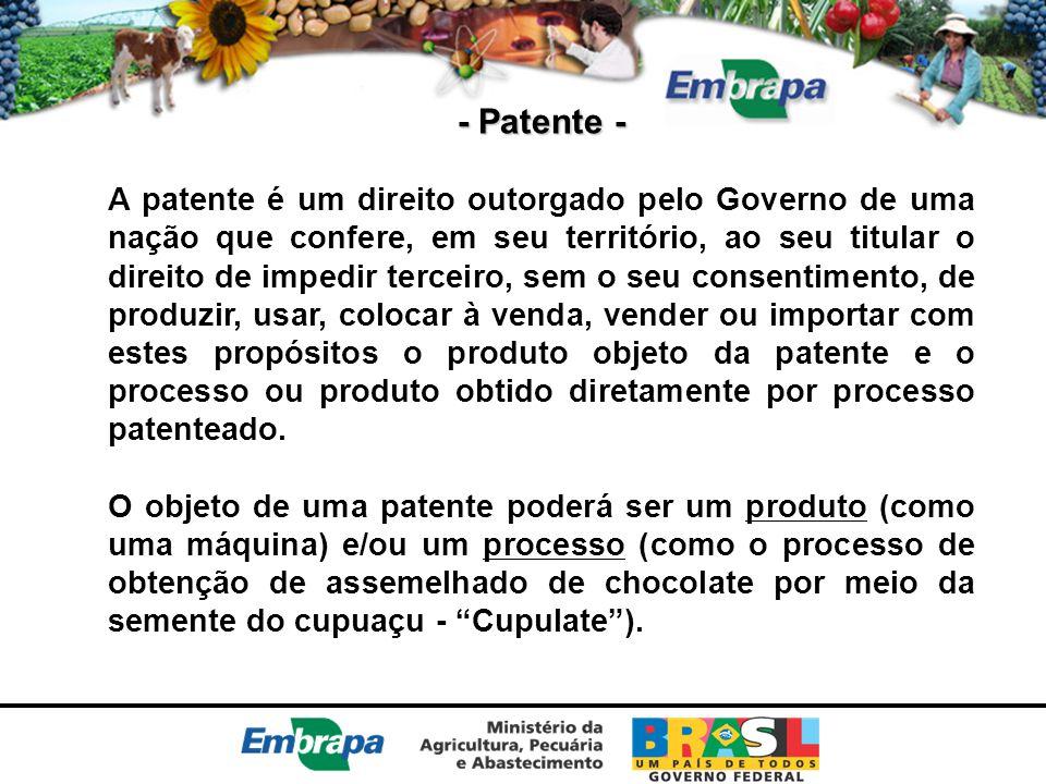 - Patente - A patente é um direito outorgado pelo Governo de uma nação que confere, em seu território, ao seu titular o direito de impedir terceiro, s