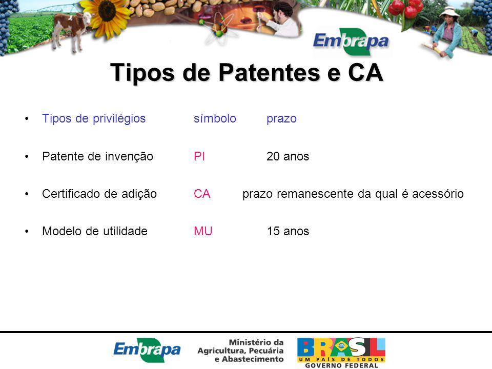 Tipos de Patentes e CA Tipos de privilégiossímboloprazo Patente de invençãoPI 20 anos Certificado de adiçãoCAprazo remanescente da qual é acessório Mo
