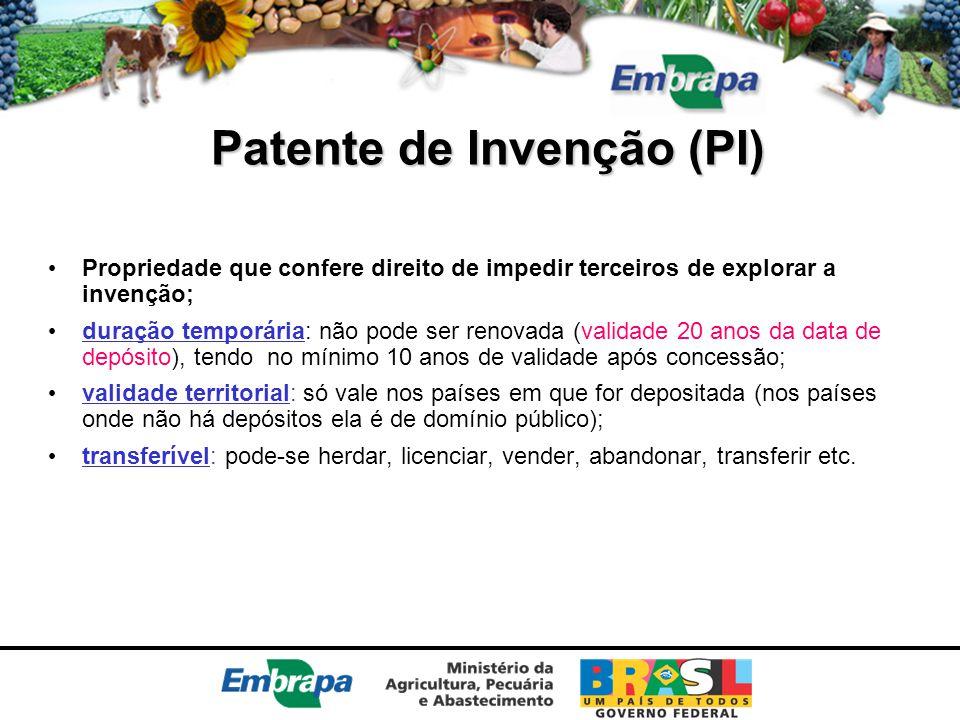 Patente de Invenção (PI) Propriedade que confere direito de impedir terceiros de explorar a invenção; duração temporária: não pode ser renovada (valid