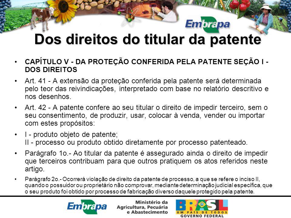 Dos direitos do titular da patente CAPÍTULO V - DA PROTEÇÃO CONFERIDA PELA PATENTE SEÇÃO I - DOS DIREITOS Art. 41 - A extensão da proteção conferida p