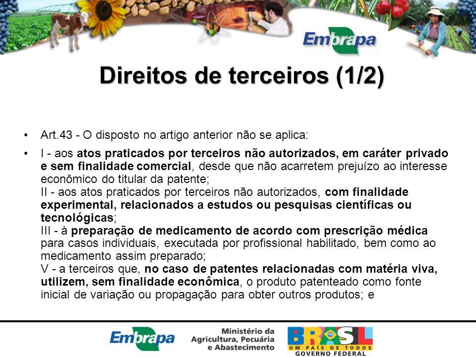 Direitos de terceiros (1/2) Art.43 - O disposto no artigo anterior não se aplica: I - aos atos praticados por terceiros não autorizados, em caráter pr