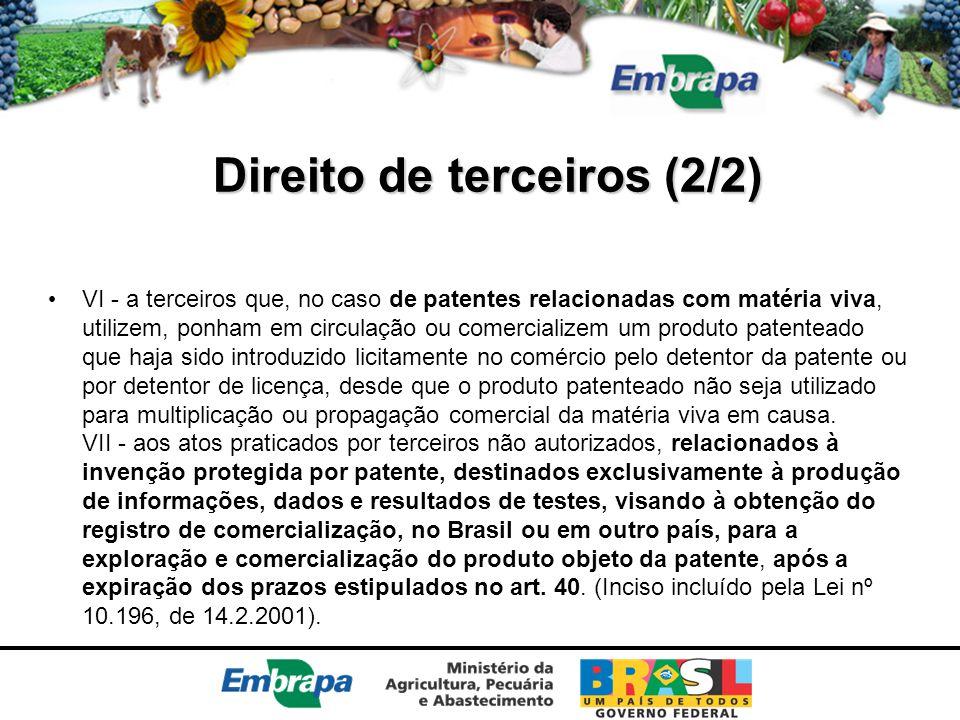 Direito de terceiros (2/2) VI - a terceiros que, no caso de patentes relacionadas com matéria viva, utilizem, ponham em circulação ou comercializem um