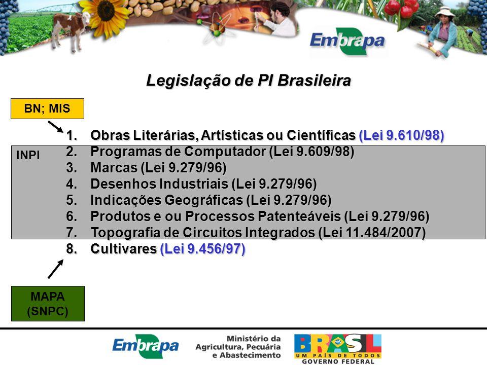 INPI Legislação de PI Brasileira 1.Obras Literárias, Artísticas ou Científicas (Lei 9.610/98) 2.Programas de Computador (Lei 9.609/98) 3.Marcas (Lei 9
