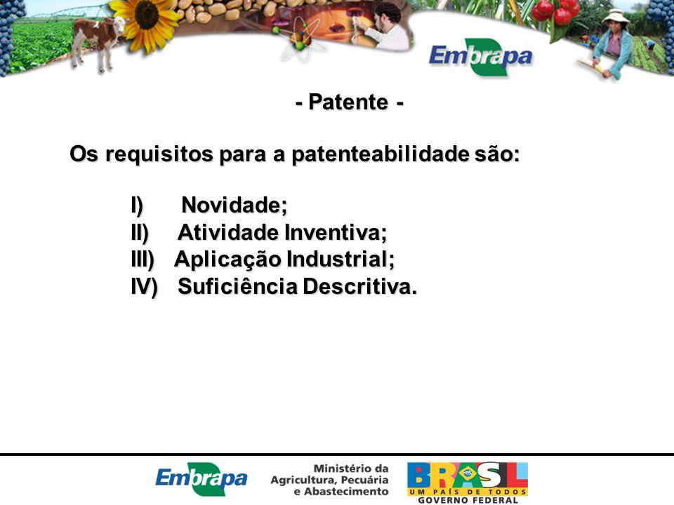 - Patente - Os requisitos para a patenteabilidade são: I) Novidade; II) Atividade Inventiva; III) Aplicação Industrial; IV) Suficiência Descritiva.