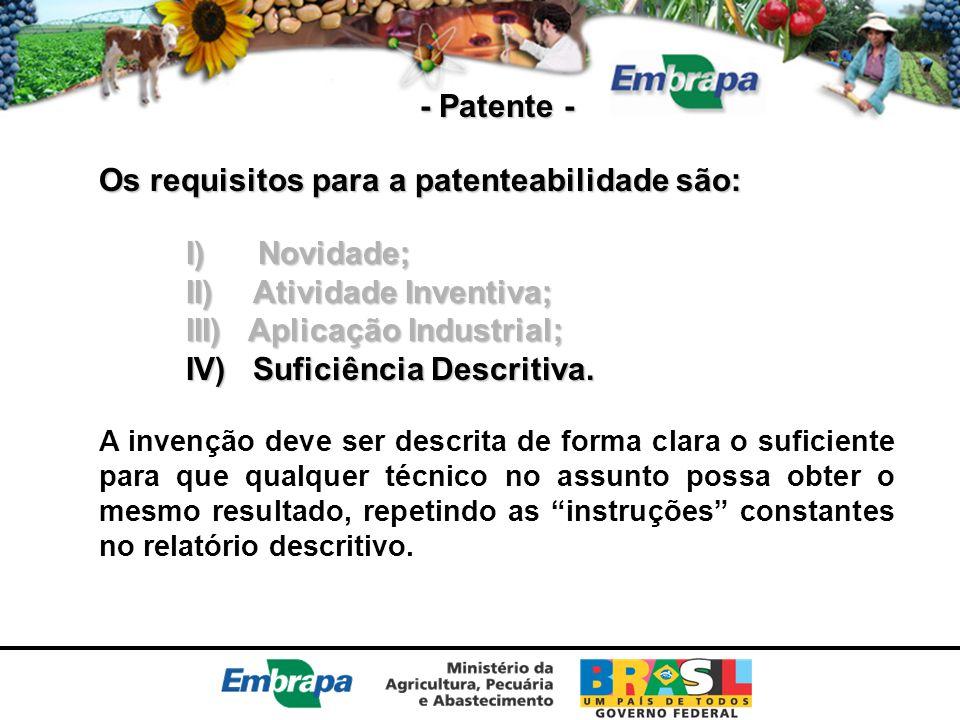 - Patente - Os requisitos para a patenteabilidade são: I) Novidade; II) Atividade Inventiva; III) Aplicação Industrial; IV) Suficiência Descritiva. A