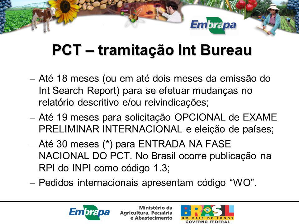 PCT – tramitação Int Bureau – Até 18 meses (ou em até dois meses da emissão do Int Search Report) para se efetuar mudanças no relatório descritivo e/o