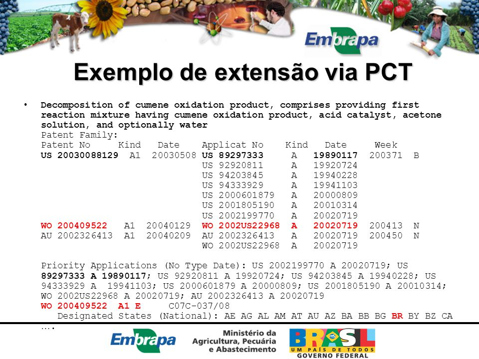 Exemplo de extensão via PCT Decomposition of cumene oxidation product, comprises providing first reaction mixture having cumene oxidation product, acid catalyst, acetone solution, and optionally water Patent Family: Patent No Kind Date Applicat No Kind Date Week US 20030088129 A1 20030508 US 89297333 A 19890117 200371 B US 92920811 A 19920724 US 94203845 A 19940228 US 94333929 A 19941103 US 2000601879 A 20000809 US 2001805190 A 20010314 US 2002199770 A 20020719 WO 200409522 A1 20040129 WO 2002US22968 A 20020719 200413 N AU 2002326413 A1 20040209 AU 2002326413 A 20020719 200450 N WO 2002US22968 A 20020719 Priority Applications (No Type Date): US 2002199770 A 20020719; US 89297333 A 19890117; US 92920811 A 19920724; US 94203845 A 19940228; US 94333929 A 19941103; US 2000601879 A 20000809; US 2001805190 A 20010314; WO 2002US22968 A 20020719; AU 2002326413 A 20020719 WO 200409522 A1 E C07C-037/08 Designated States (National): AE AG AL AM AT AU AZ BA BB BG BR BY BZ CA ….
