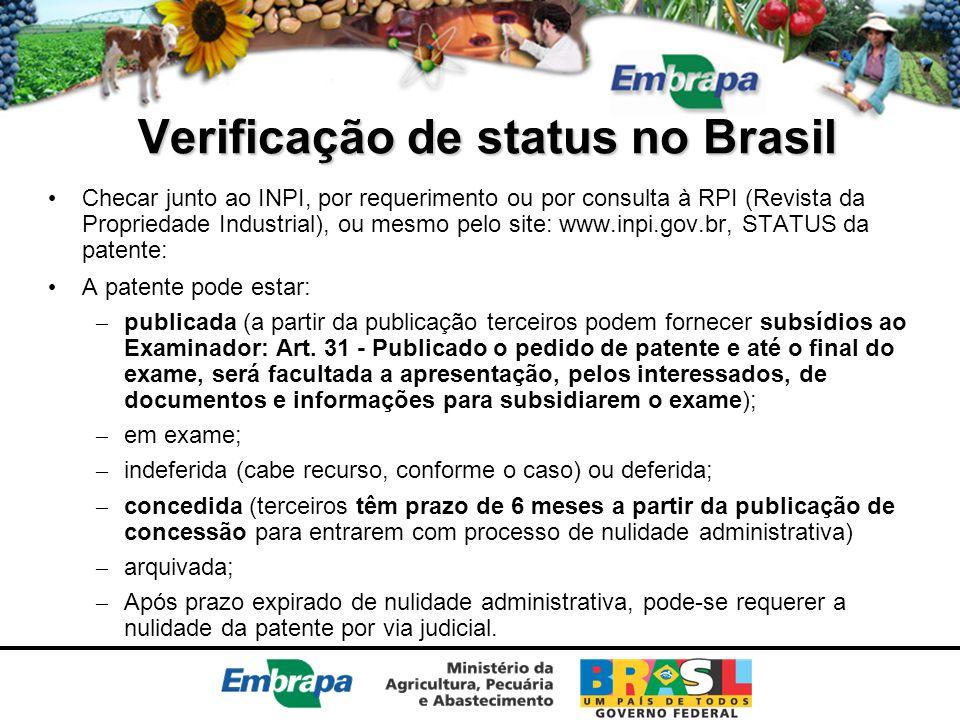 Verificação de status no Brasil Checar junto ao INPI, por requerimento ou por consulta à RPI (Revista da Propriedade Industrial), ou mesmo pelo site: