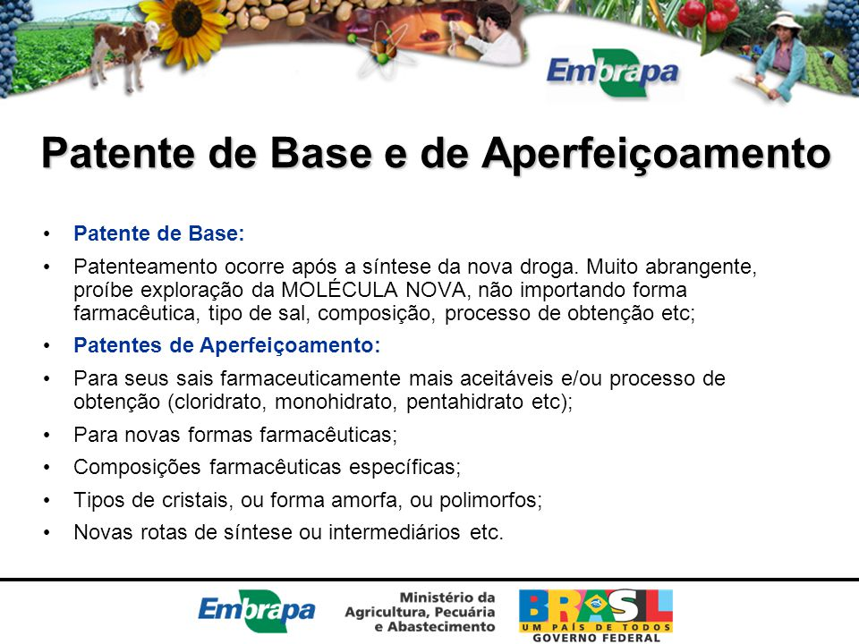 Patente de Base e de Aperfeiçoamento Patente de Base: Patenteamento ocorre após a síntese da nova droga. Muito abrangente, proíbe exploração da MOLÉCU