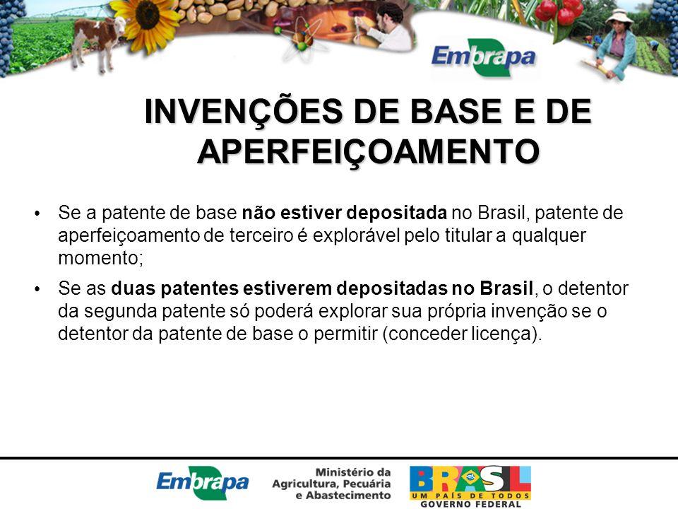 INVENÇÕES DE BASE E DE APERFEIÇOAMENTO Se a patente de base não estiver depositada no Brasil, patente de aperfeiçoamento de terceiro é explorável pelo