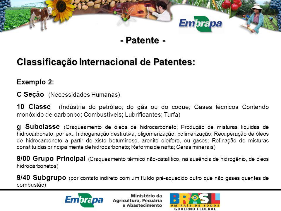 - Patente - Classificação Internacional de Patentes: Exemplo 2: C Seção (Necessidades Humanas) 10 Classe (Indústria do petróleo; do gás ou do coque; G