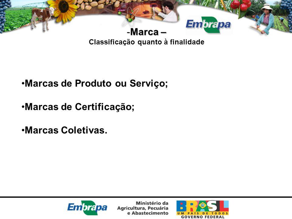 -Marca – Classificação quanto à finalidade Marcas de Produto ou Serviço; Marcas de Certificação; Marcas Coletivas.