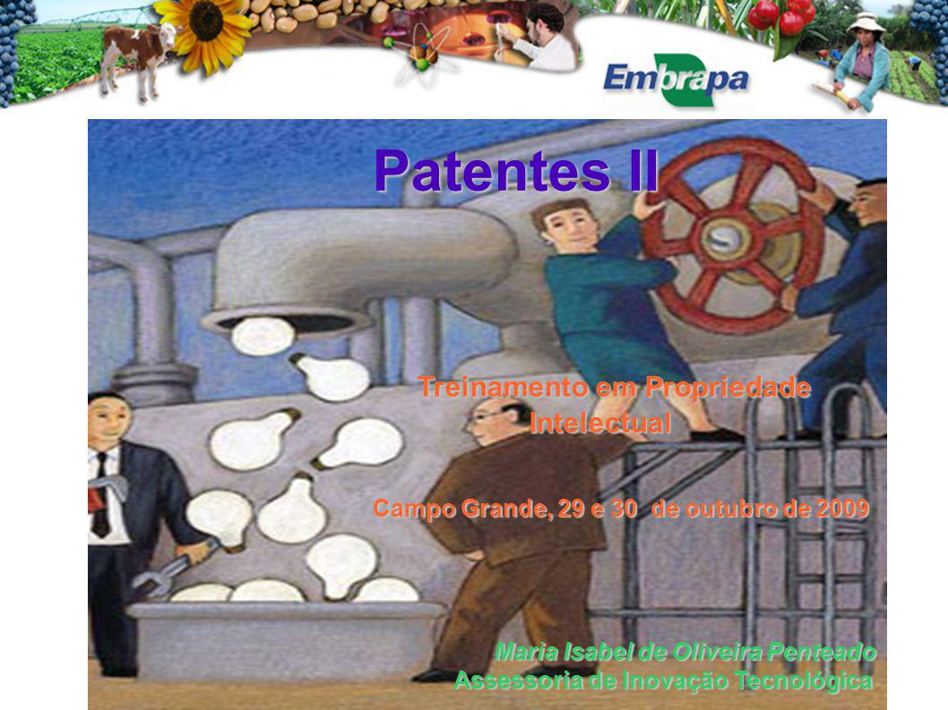 Patentes II Treinamento em Propriedade Intelectual Campo Grande, 29 e 30 de outubro de 2009 Maria Isabel de Oliveira Penteado Assessoria de Inovação T