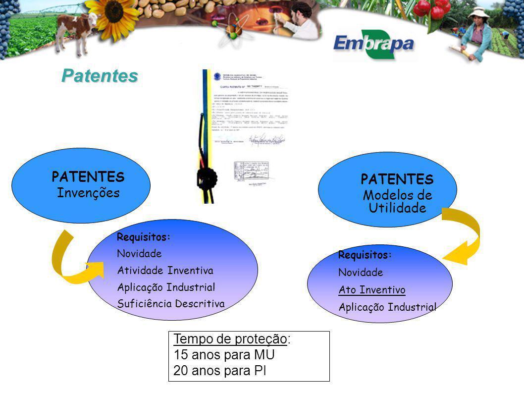 Patentes PATENTES Invenções Requisitos: Novidade Atividade Inventiva Aplicação Industrial Suficiência Descritiva Tempo de proteção: 15 anos para MU 20 anos para PI PATENTES Modelos de Utilidade Requisitos: Novidade Ato Inventivo Aplicação Industrial