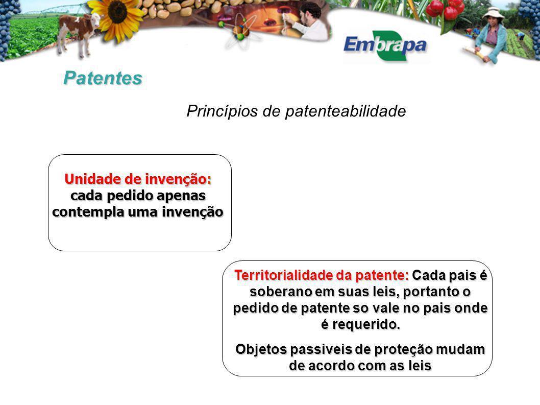 Patentes Unidade de invenção: cada pedido apenas contempla uma invenção Territorialidade da patente: Cada pais é soberano em suas leis, portanto o pedido de patente so vale no pais onde é requerido.