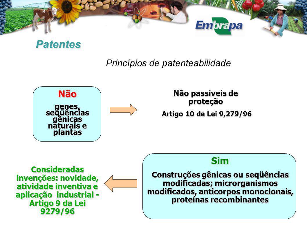 Não passíveis de proteção Artigo 10 da Lei 9,279/96 Artigo 10 da Lei 9,279/96 Patentes Princípios de patenteabilidade Não genes, seqüências gênicas na