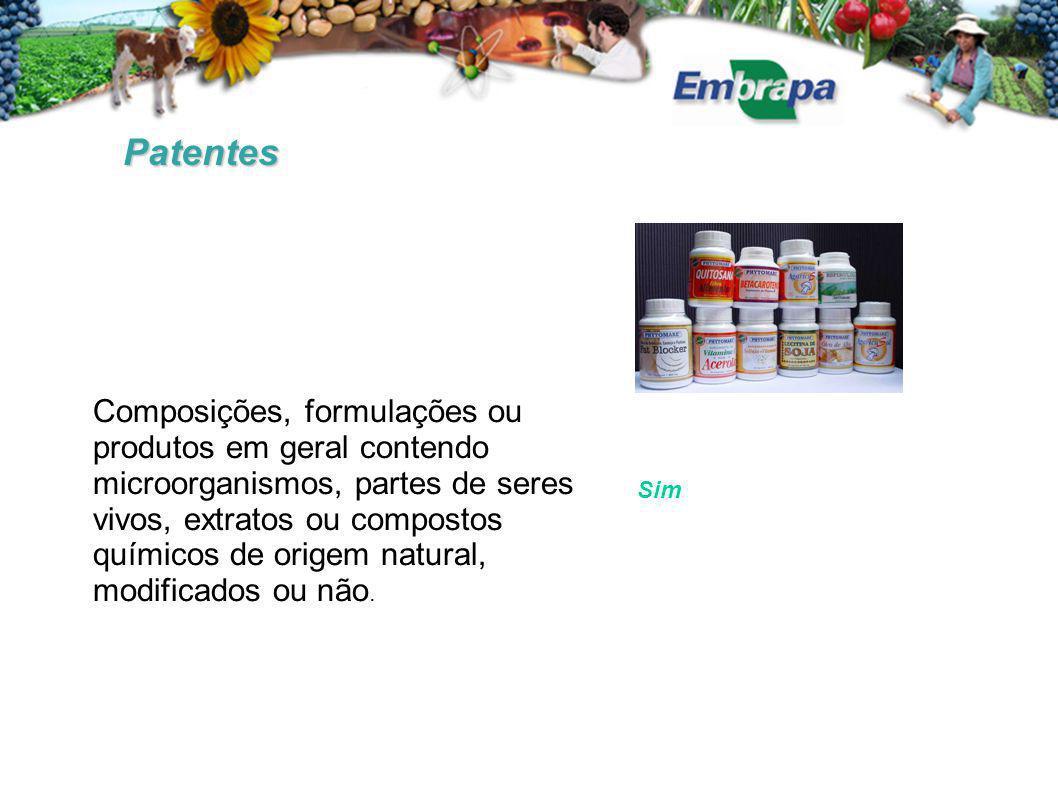 Patentes Composições, formulações ou produtos em geral contendo microorganismos, partes de seres vivos, extratos ou compostos químicos de origem natural, modificados ou não.