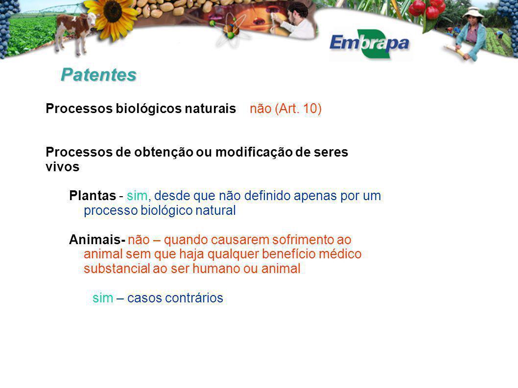 Patentes Processos biológicos naturais não (Art. 10) Processos de obtenção ou modificação de seres vivos Plantas - sim, desde que não definido apenas