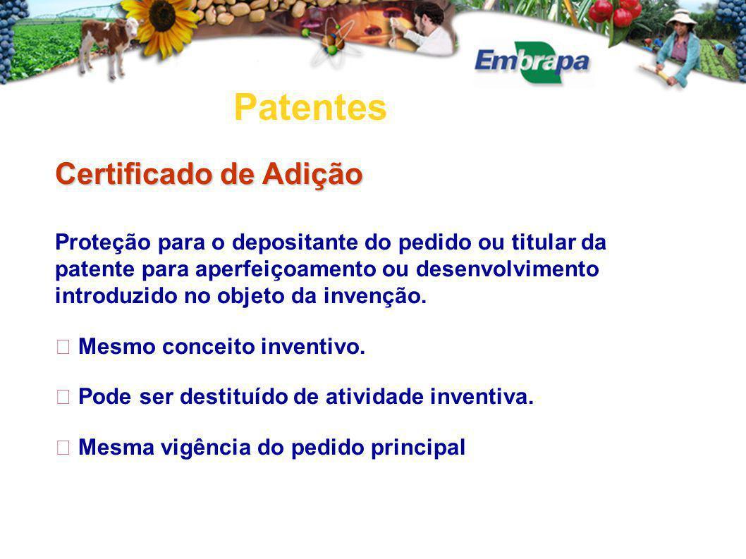 Patentes Certificado de Adição Proteção para o depositante do pedido ou titular da patente para aperfeiçoamento ou desenvolvimento introduzido no objeto da invenção.