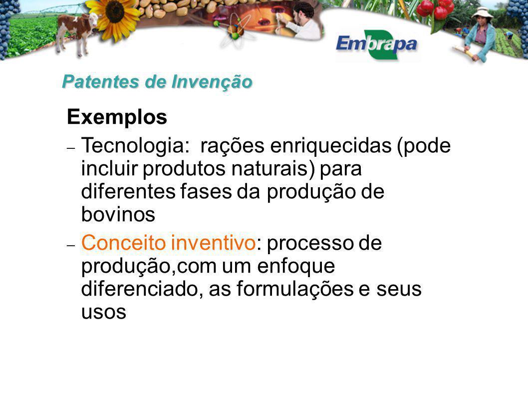 Patentes de Invenção Exemplos  Tecnologia: rações enriquecidas (pode incluir produtos naturais) para diferentes fases da produção de bovinos  Concei