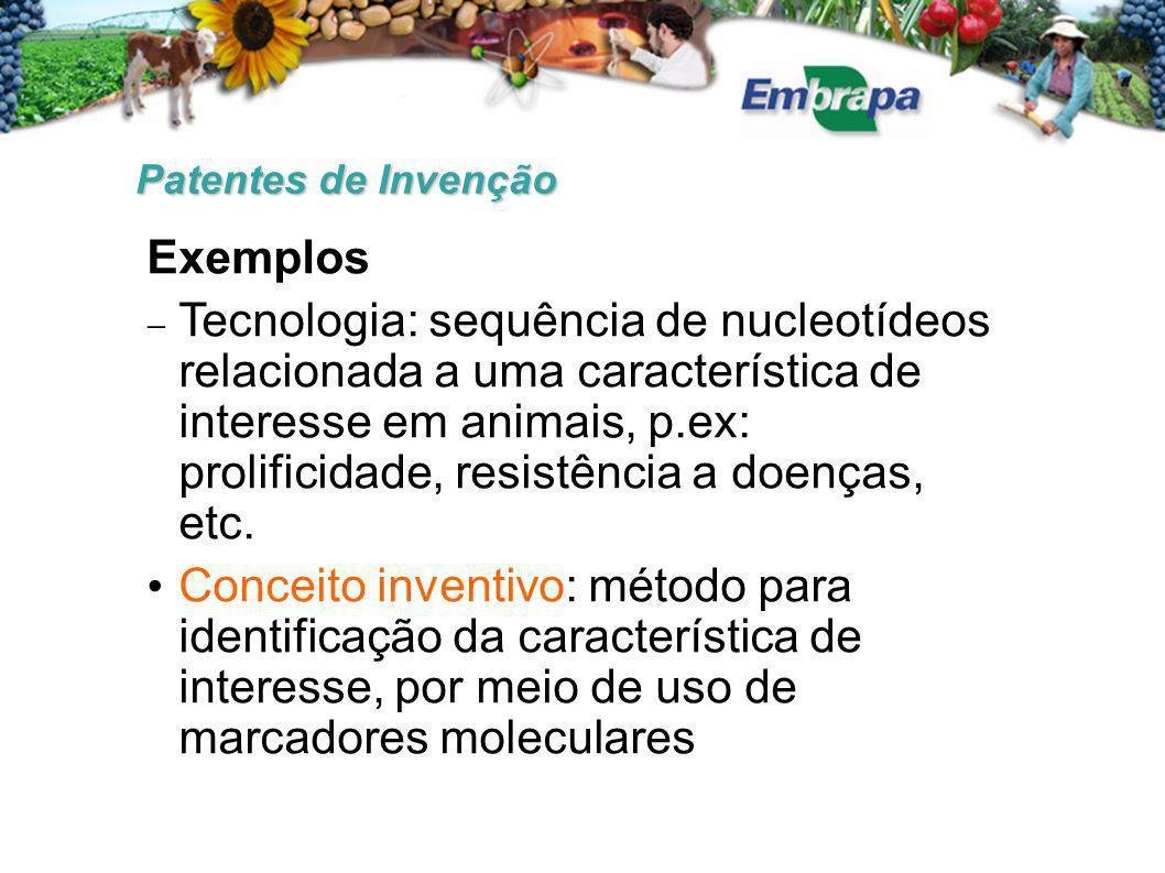 Patentes de Invenção Exemplos  Tecnologia: sequência de nucleotídeos relacionada a uma característica de interesse em animais, p.ex: prolificidade, resistência a doenças, etc.