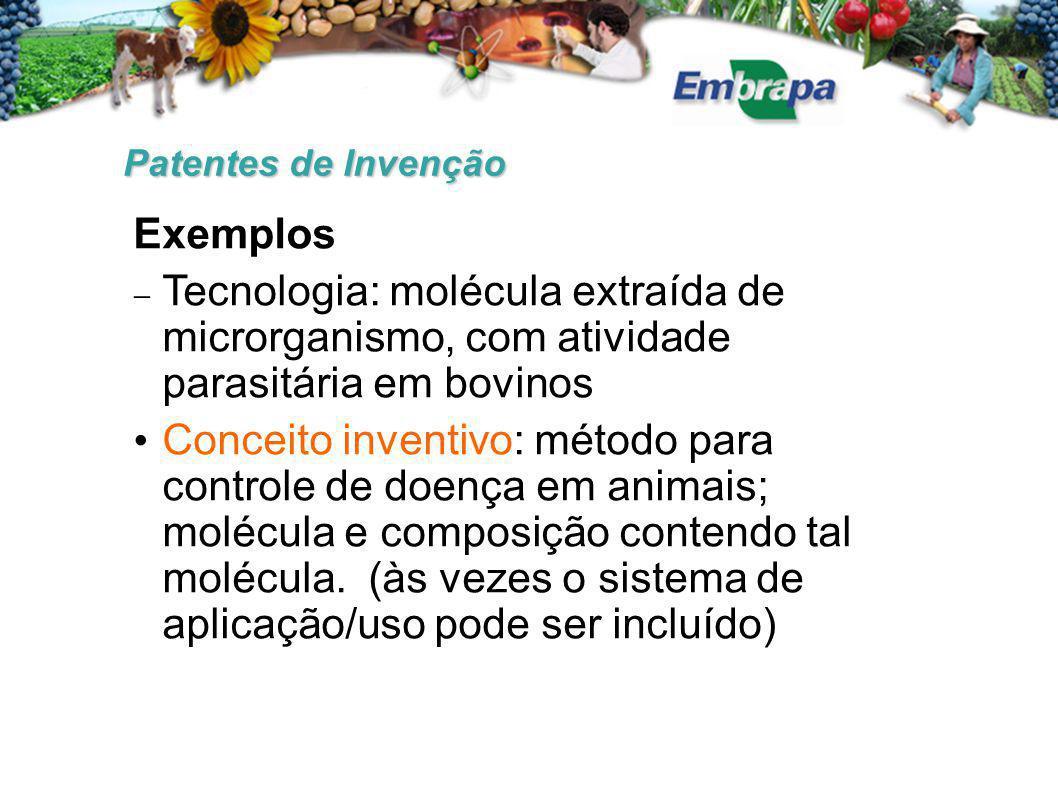 Patentes de Invenção Exemplos  Tecnologia: molécula extraída de microrganismo, com atividade parasitária em bovinos Conceito inventivo: método para controle de doença em animais; molécula e composição contendo tal molécula.