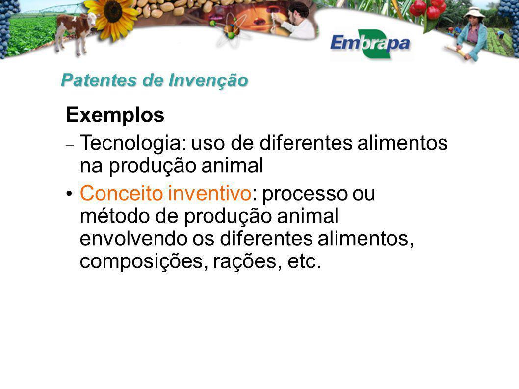 Patentes de Invenção Exemplos  Tecnologia: uso de diferentes alimentos na produção animal Conceito inventivo: processo ou método de produção animal e