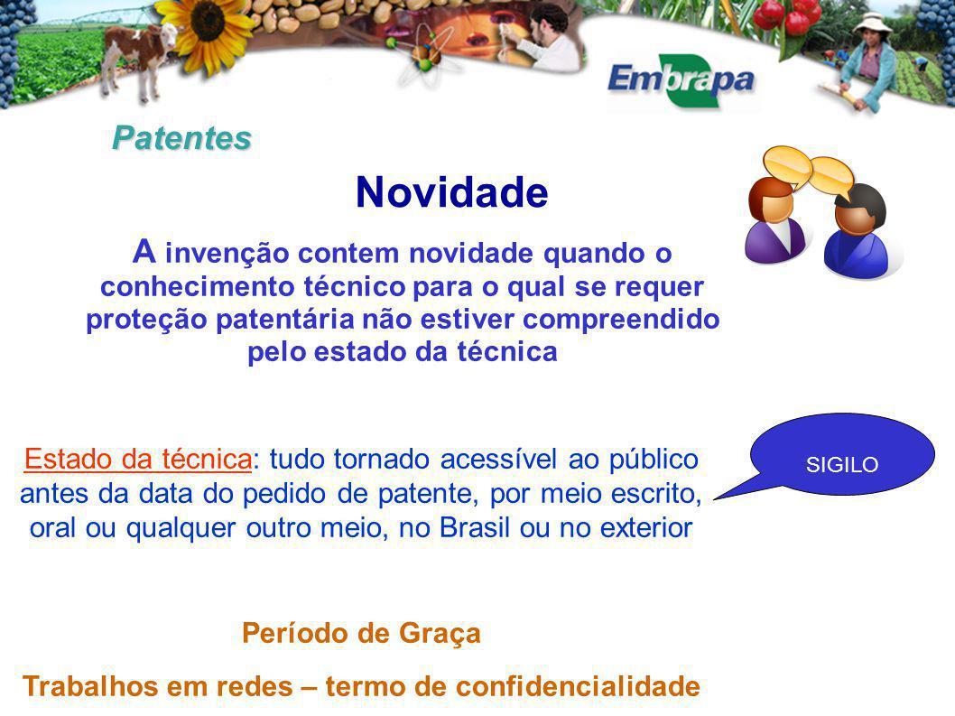 Patentes Novidade A invenção contem novidade quando o conhecimento técnico para o qual se requer proteção patentária não estiver compreendido pelo est
