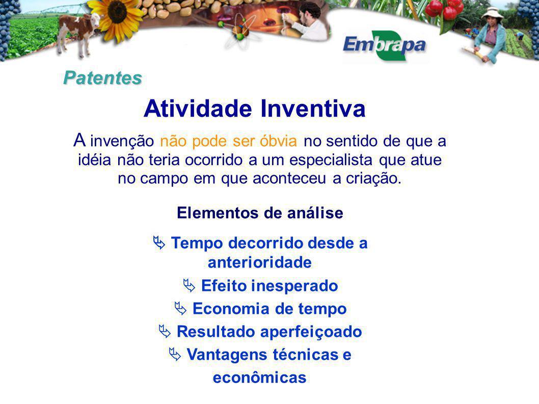 Patentes Atividade Inventiva A invenção não pode ser óbvia no sentido de que a idéia não teria ocorrido a um especialista que atue no campo em que aconteceu a criação.