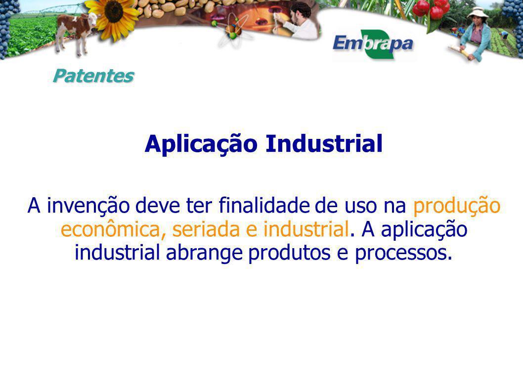 Aplicação Industrial A invenção deve ter finalidade de uso na produção econômica, seriada e industrial.