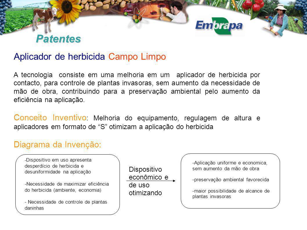 Patentes Aplicador de herbicida Campo Limpo A tecnologia consiste em uma melhoria em um aplicador de herbicida por contacto, para controle de plantas