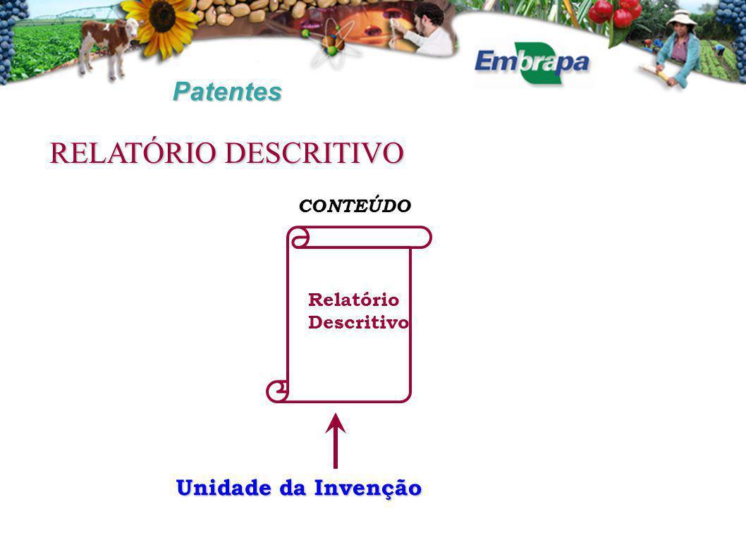Patentes CONTEÚDO Unidade da Invenção Relatório Descritivo RELATÓRIO DESCRITIVO