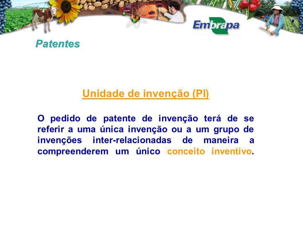 Patentes Unidade de invenção (PI) O pedido de patente de invenção terá de se referir a uma única invenção ou a um grupo de invenções inter-relacionadas de maneira a compreenderem um único conceito inventivo.