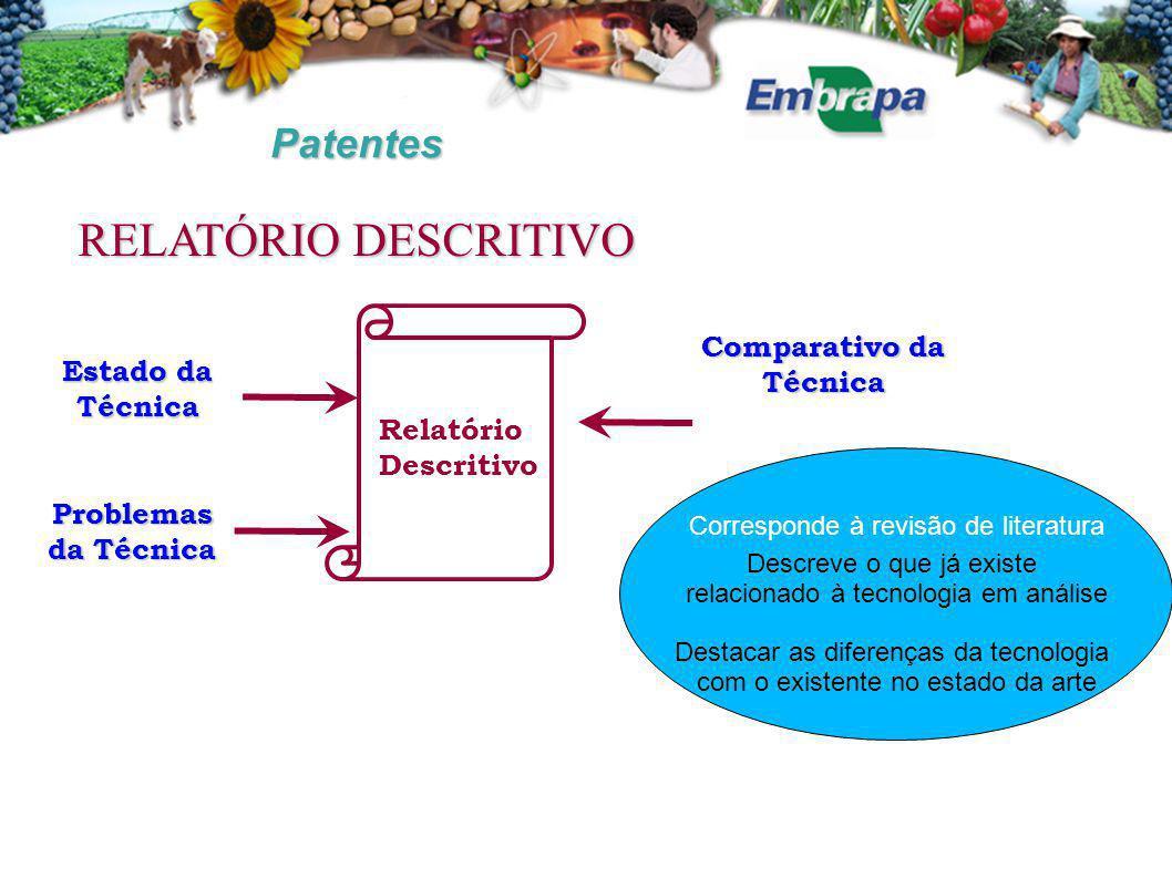 Patentes Comparativo da Técnica Estado da Técnica Problemas da Técnica Relatório Descritivo RELATÓRIO DESCRITIVO Descreve o que já existe relacionado