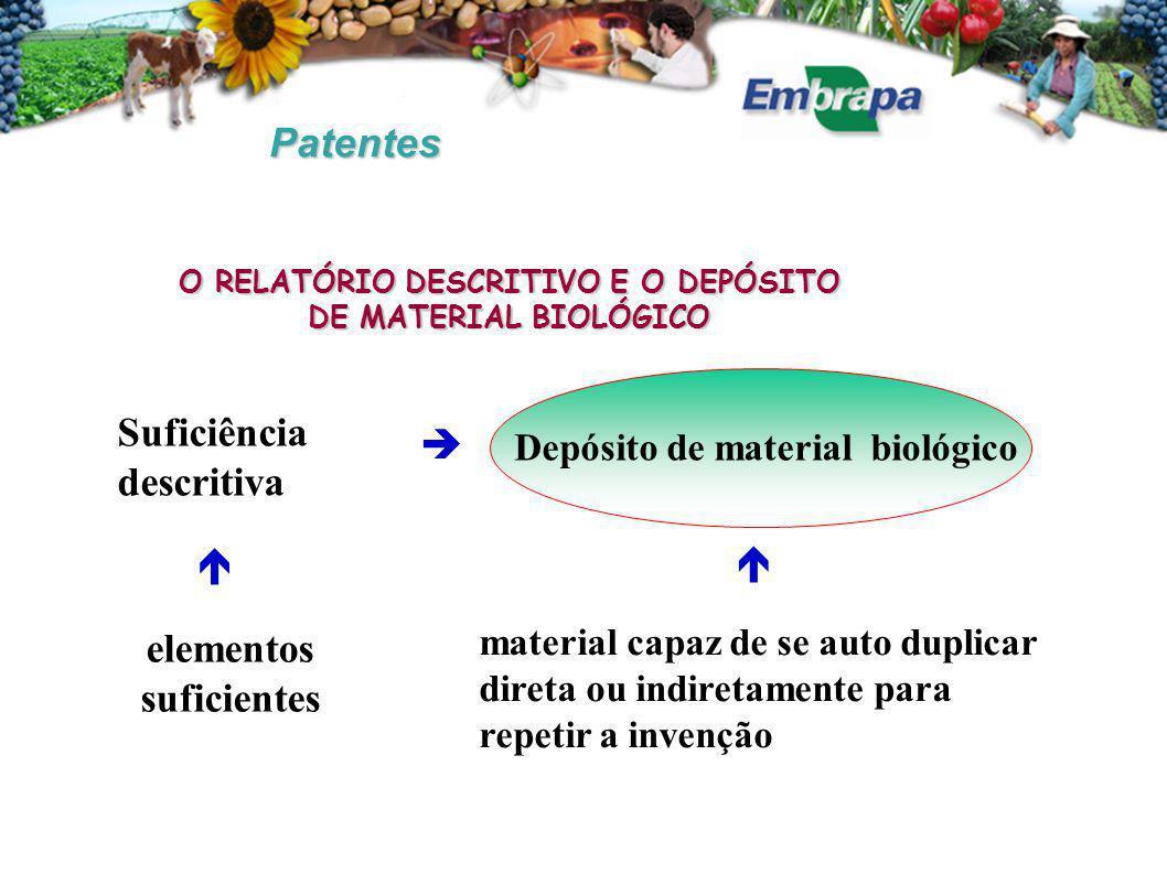 Patentes O RELATÓRIO DESCRITIVO E O DEPÓSITO DE MATERIAL BIOLÓGICO   Suficiência descritiva  Depósito de material biológico material capaz de se auto duplicar direta ou indiretamente para repetir a invenção elementos suficientes