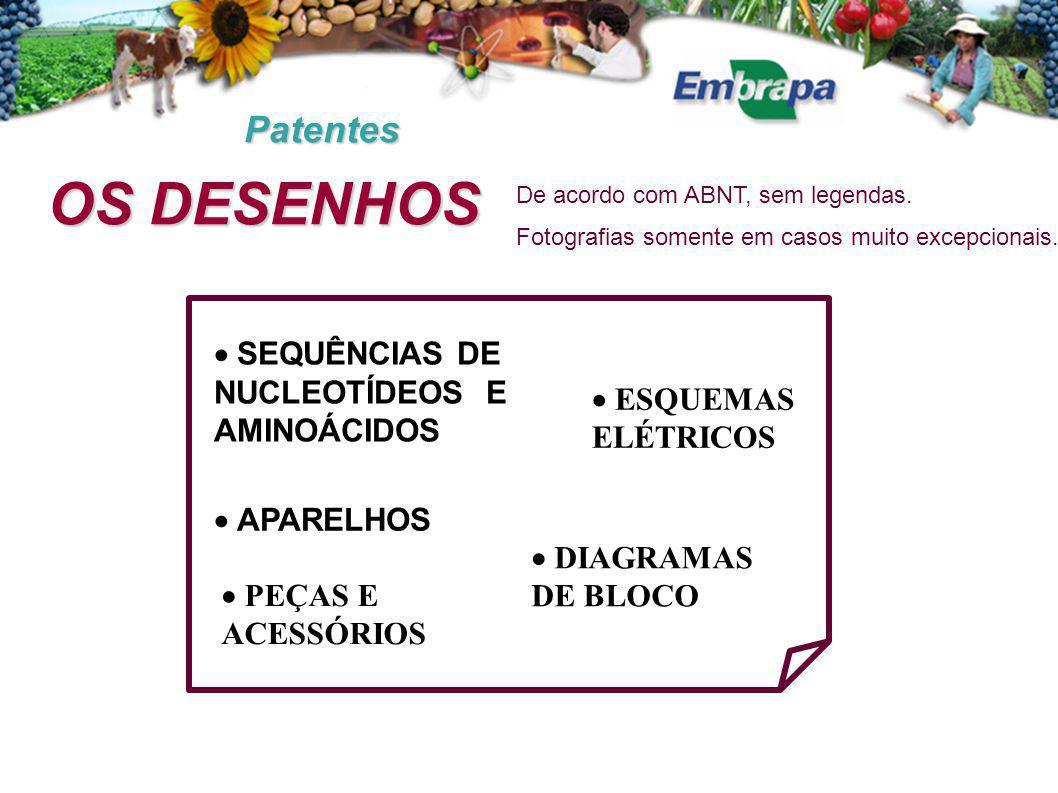 Patentes OS DESENHOS  APARELHOS  PEÇAS E ACESSÓRIOS  SEQUÊNCIAS DE NUCLEOTÍDEOS E AMINOÁCIDOS  ESQUEMAS ELÉTRICOS  DIAGRAMAS DE BLOCO De acordo com ABNT, sem legendas.