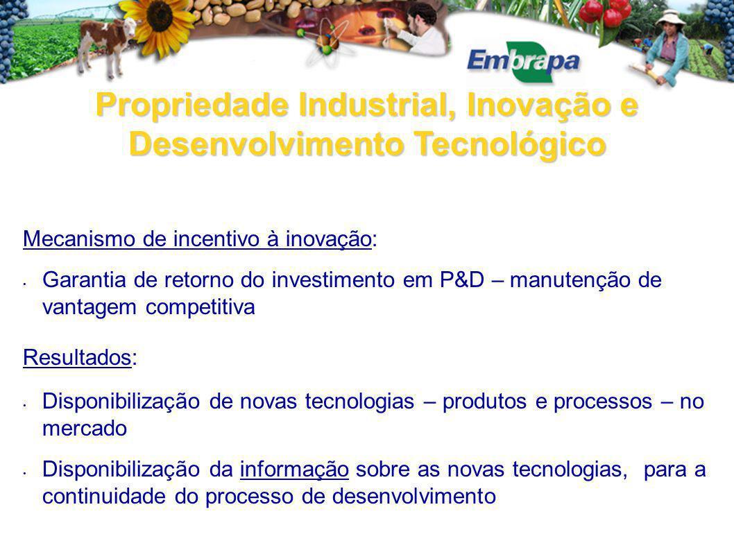 Propriedade Industrial, Inovação e Desenvolvimento Tecnológico Mecanismo de incentivo à inovação: Garantia de retorno do investimento em P&D – manuten