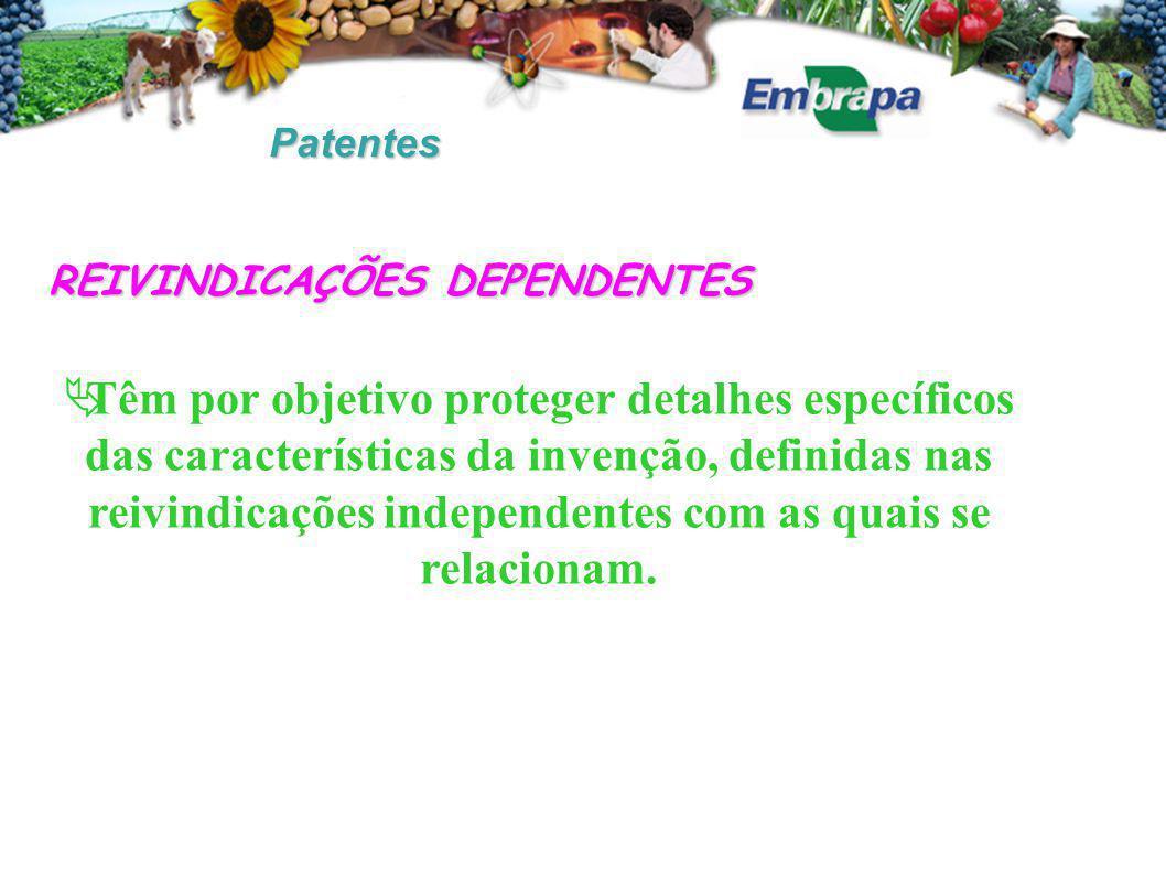Patentes REIVINDICAÇÕES DEPENDENTES  Têm por objetivo proteger detalhes específicos das características da invenção, definidas nas reivindicações independentes com as quais se relacionam.