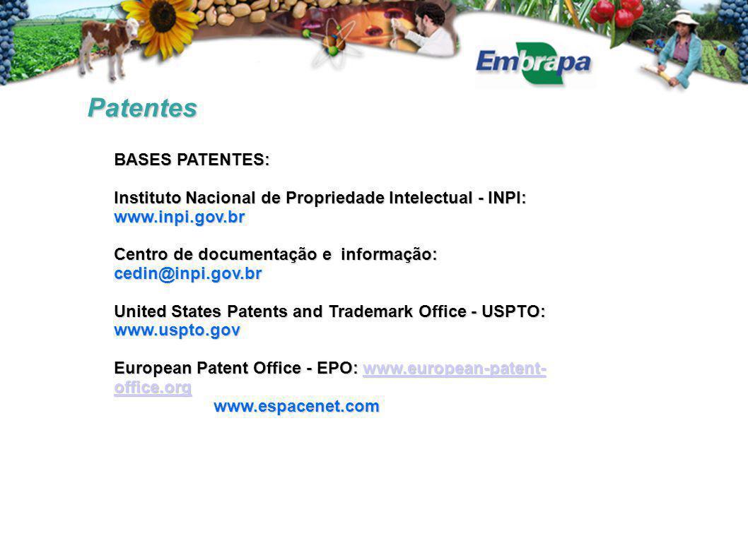 Patentes BASES PATENTES: Instituto Nacional de Propriedade Intelectual - INPI: www.inpi.gov.br Centro de documentação e informação: cedin@inpi.gov.br