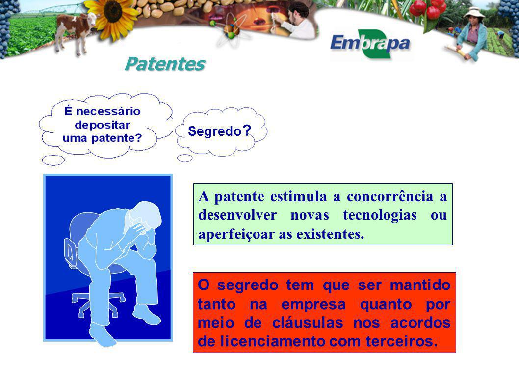 Patentes O segredo tem que ser mantido tanto na empresa quanto por meio de cláusulas nos acordos de licenciamento com terceiros. A patente estimula a