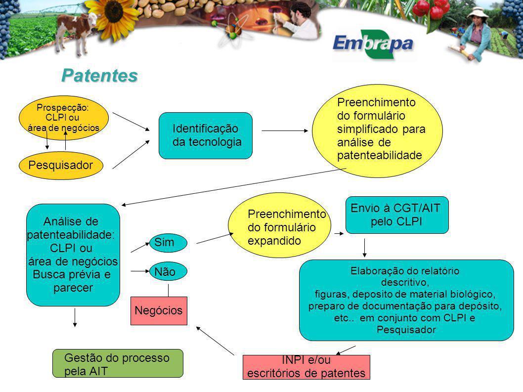 Patentes Identificação da tecnologia Análise de patenteabilidade: CLPI ou área de negócios Busca prévia e parecer Pesquisador Prospecção: CLPI ou área
