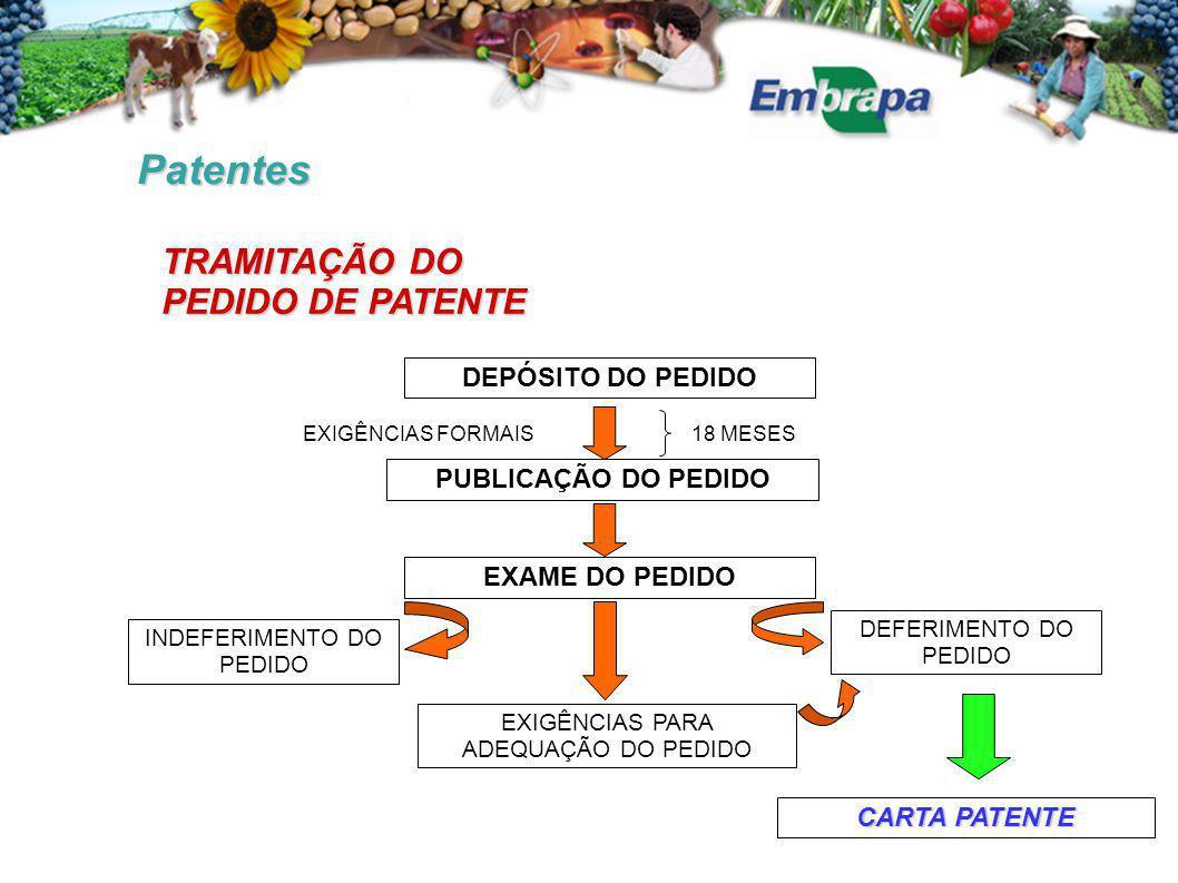 Patentes DEPÓSITO DO PEDIDO PUBLICAÇÃO DO PEDIDO EXAME DO PEDIDO INDEFERIMENTO DO PEDIDO EXIGÊNCIAS PARA ADEQUAÇÃO DO PEDIDO DEFERIMENTO DO PEDIDO 18 MESESEXIGÊNCIAS FORMAIS CARTA PATENTE TRAMITAÇÃO DO PEDIDO DE PATENTE