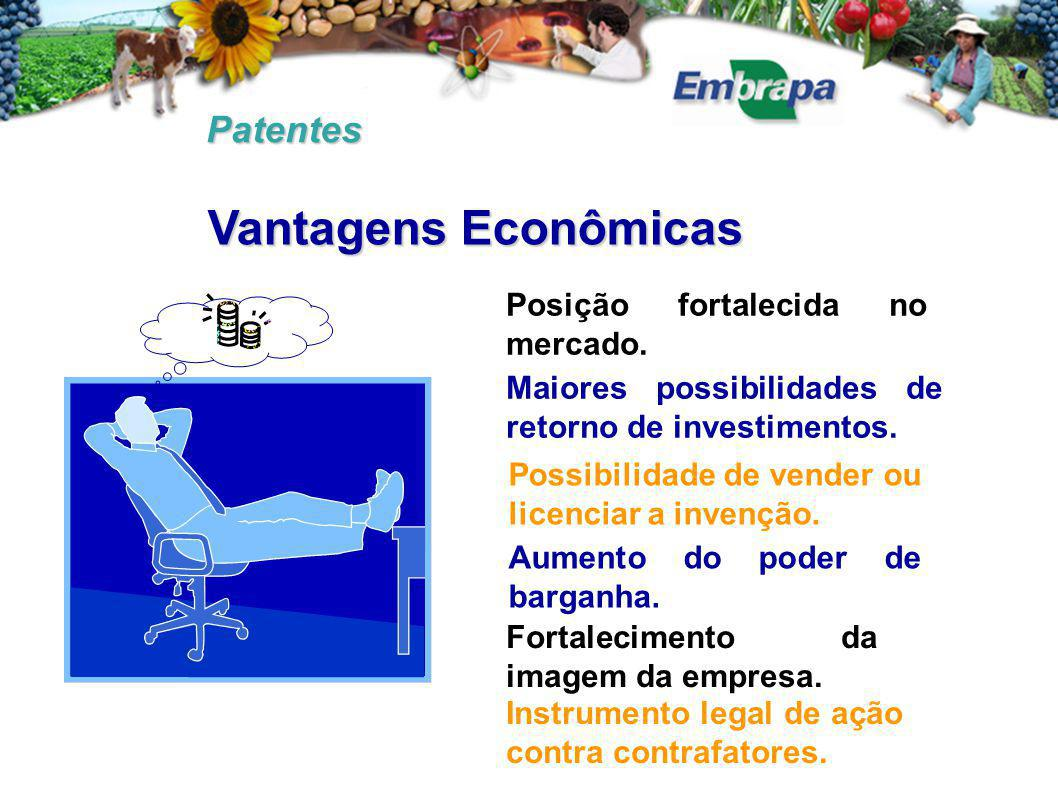 Patentes Posição fortalecida no mercado. Maiores possibilidades de retorno de investimentos. Possibilidade de vender ou licenciar a invenção. Aumento
