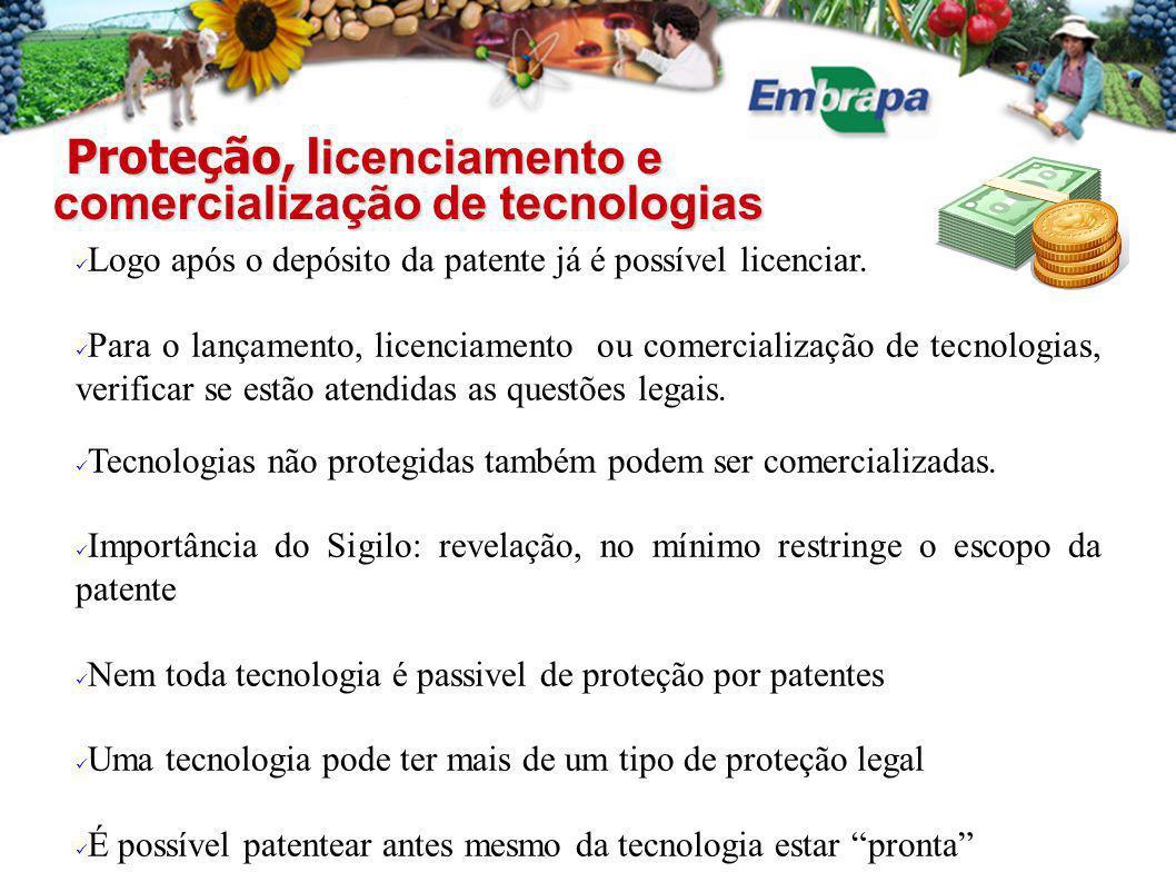 Proteção, l icenciamento e comercialização de tecnologias Proteção, l icenciamento e comercialização de tecnologias Logo após o depósito da patente já é possível licenciar.