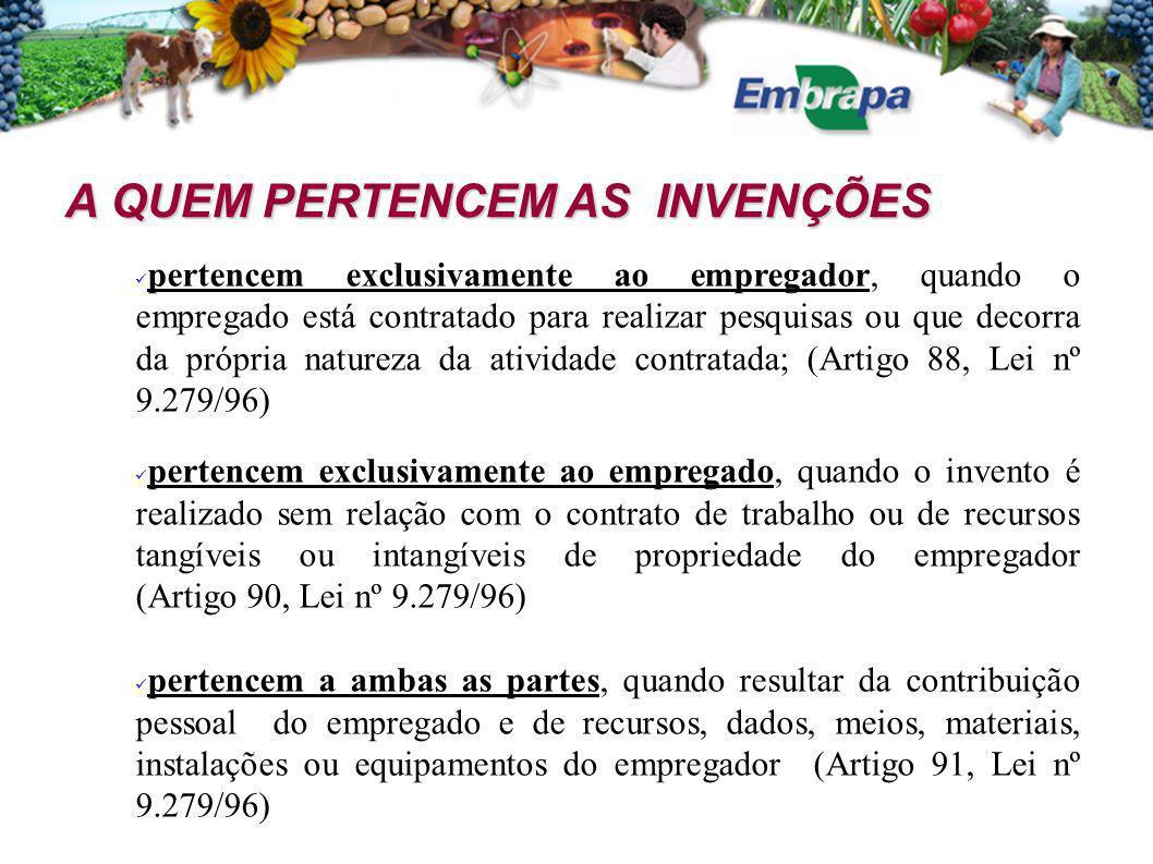 A QUEM PERTENCEM AS INVENÇÕES A QUEM PERTENCEM AS INVENÇÕES pertencem exclusivamente ao empregador, quando o empregado está contratado para realizar p