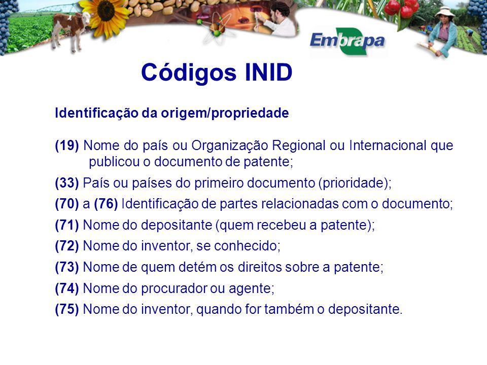 Códigos INID Identificação da origem/propriedade (19) Nome do país ou Organização Regional ou Internacional que publicou o documento de patente; (33)