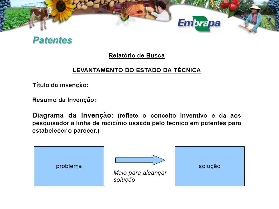 Patentes Relatório de Busca LEVANTAMENTO DO ESTADO DA TÉCNICA Título da invenção: Resumo da Invenção: Diagrama da Invenção : (reflete o conceito inven